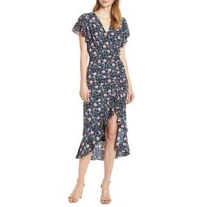 Chelsea28 Blue Floral Ruched Midi Dress